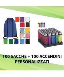 100 SACCHE + 100 ACCENDINI PERSONALIZZATI