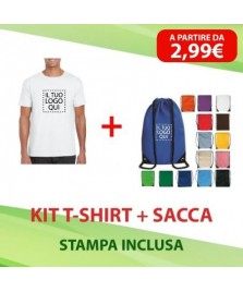 Kit T-shirt + Sacca in poliestere personalizzate