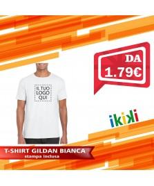T-shirt Gildan Bianca 100% cotone 150 gr