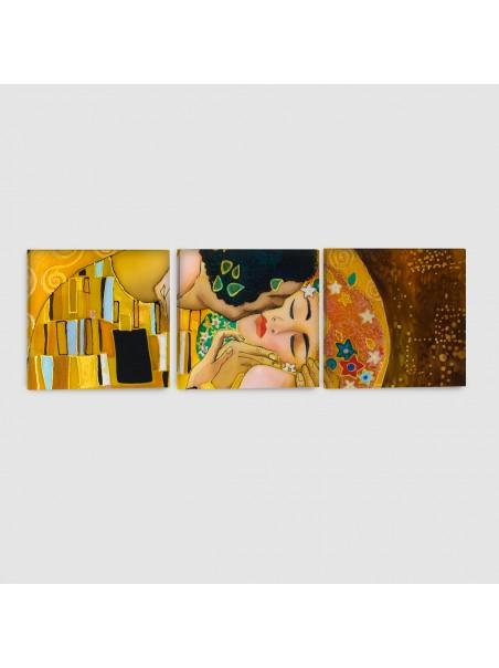 Il Bacio di Klimt - Quadro su Tela - 3 pannelli