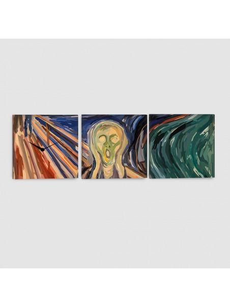 L'Urlo di Munch - Quadro su Tela - 3 pannelli con orologio