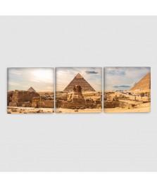 Giza, Piramidi - Quadro su tela - 3 pannelli
