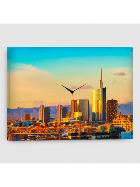 Milano - Quadro su tela - Rettangolare con orologio