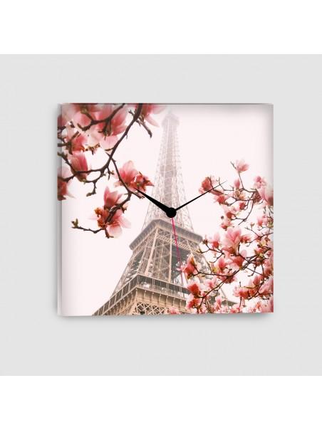 Parigi, Torre Eiffel - Quadro su tela - Quadrato con orologio