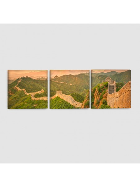 Pechino, Muraglia Cinese - Quadro su tela - 3 Pannelli