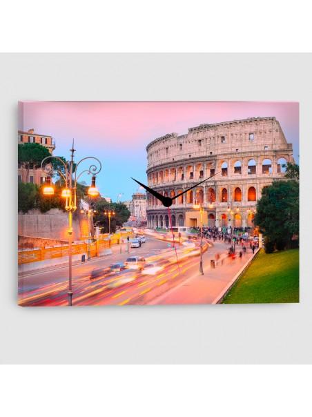 Roma, Colosseo - Quadro su tela - Rettangolare con orologio