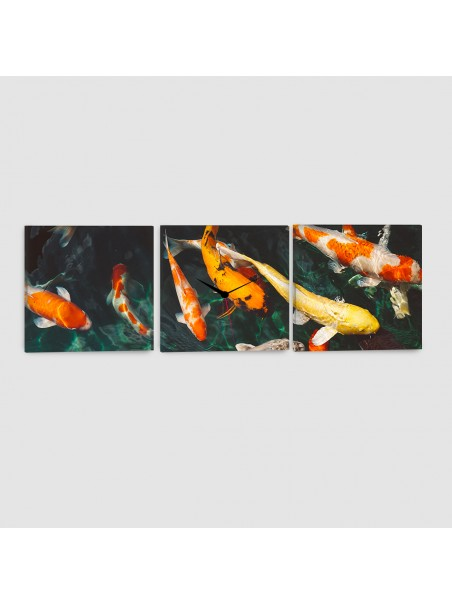 Carpe Koi - Quadro su tela - 3 Pannelli con orologio